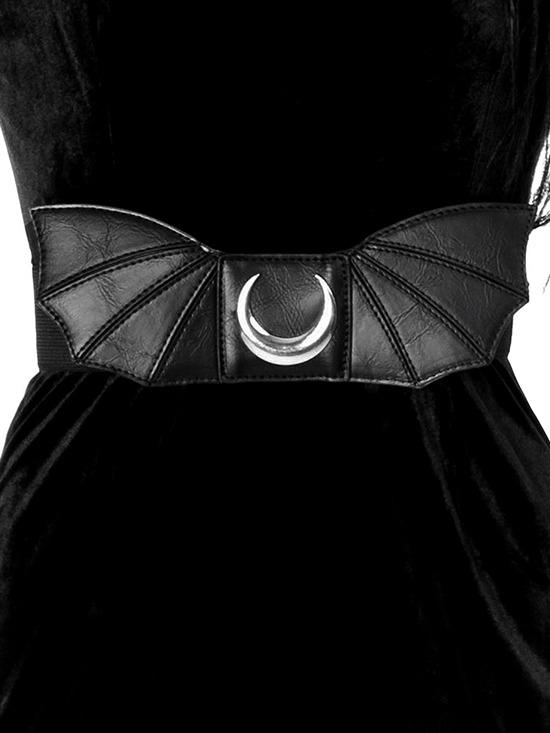 Moon Bat Wings Belt Goth Nugoth Black Wide Elastic Belt with Bat Wings & Moon - Skelapparel