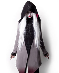 Witchy Moon Witchcraft Spells oversized Hood asymmetrical Hoodie Jacket - Moon Ritual - Skelapparel