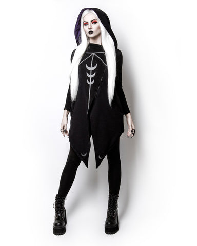 Witchy Moon Witchcraft Spells oversized Hood asymmetrical Hoodie Jacket - Moon Sheer - Skelapparel