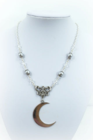 Moon Love Crescent Moon with gray Pearl Eternal Love Necklace
