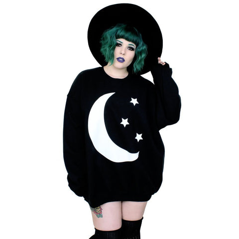 Oversized Black Sweatshirt Gothic Witch Wiccan Moon print