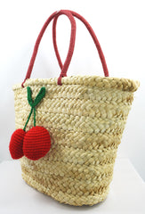 60's Vintage Inspired Natural Straw Cherry Pom Pom Tote Bag - Skelapparel