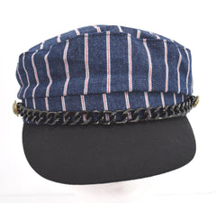 Striped Yacht Boat Ship Sailor Captain Costume Hat Cap Navy Marine Admiral