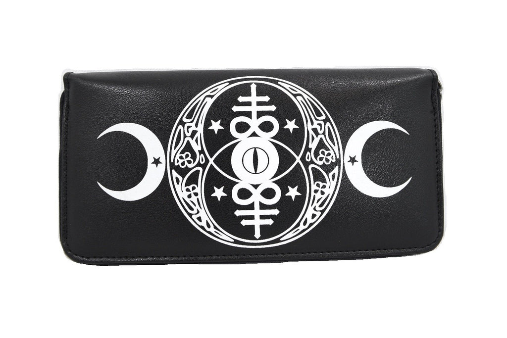 New Moon Wallet Gothic Occult Moon Magick & Leviathan cross Black Wallet - Skelapparel