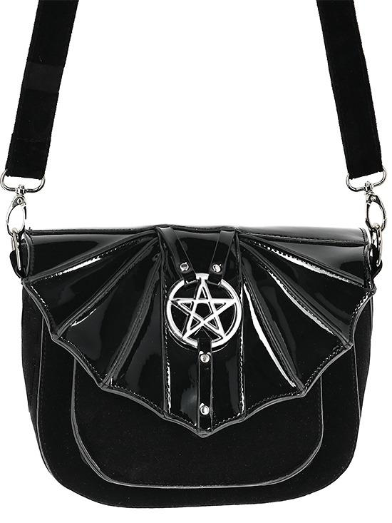 Restyle Night Creature Goth Witch Bat Wings & Pentagram Crossbody Purse