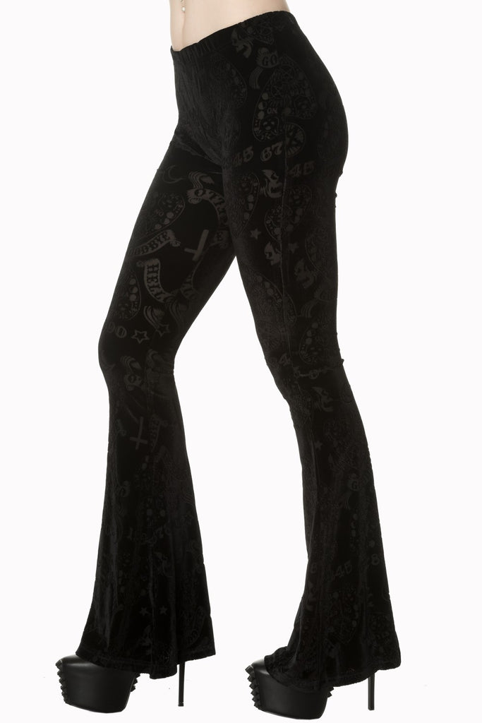 Gothic Witch Witchcraft Ouija Board Occult Black Velvet Bell Bottoms Flares Flared Leggings - Skelapparel