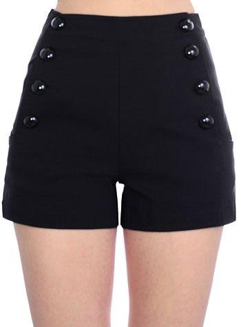 Pinup 60's Bombshell Sexy Black Stretch High Rise Waisted Sailor Shorts - Skelapparel