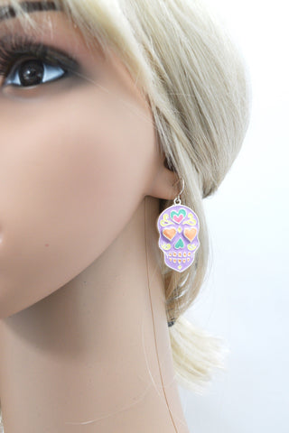 Rockabilly Love Pastel Goth Heart Sugar Skull Calavera Dia De Los Muertos Earrings
