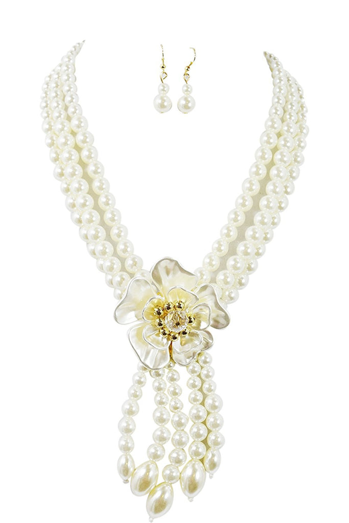 Bridal Wedding Style Multi Layered Imitation Pearl Flower Accent Necklace - Skelapparel