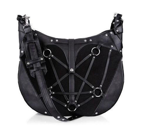 Restyle Pentagram Hobo Emo Punk Goth NuGoth Black Denim Purse