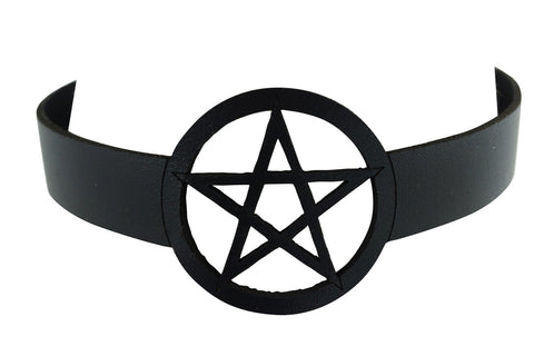 Gothic Witch Wicca Black Leather Pentagram Laser Cut Choker Necklace - Skelapparel