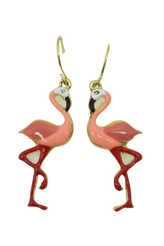 Pink Flamingo Enamel Dangle Earrings