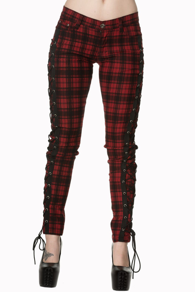Gothic Punk Rock Funky Plaid Check Side Corset lace-up jeans Skinny Jeans Pants - Skelapparel