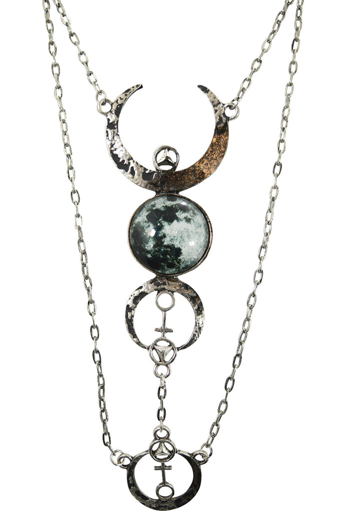 Gothic Beauty Dark Magic Witchcraft Wolf Luna Full Moon Pendant Necklace - Skelapparel