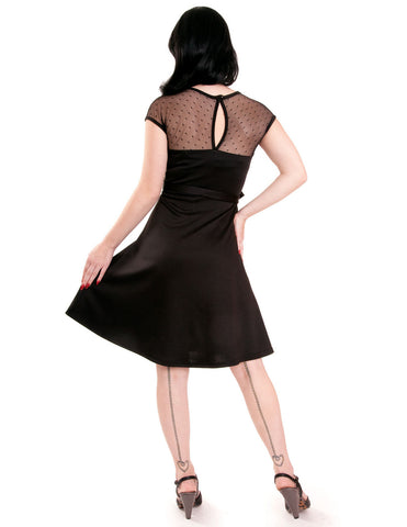 3dd12a4e05 ... 60 s Lovely Pinup Sheer Lace Polka Dot Little Black Dress - Skelapparel  ...