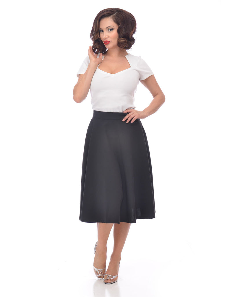 Steady Clothing High Waist Pin-up Office Lady Navy Swing Circle Skirt - Skelapparel