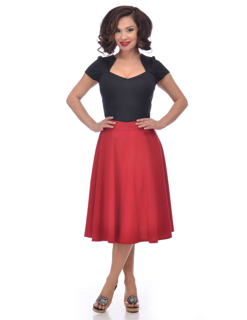 Steady Clothing High Waist Pin-up Office Lady Cherry Red Swing Circle Skirt - Skelapparel