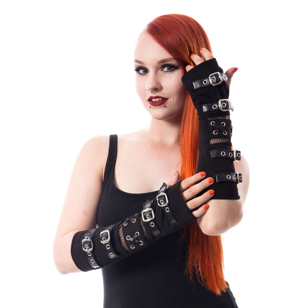 Poizen Industries Goth Punk Black Buckle Straps Arm warmers Sleeves