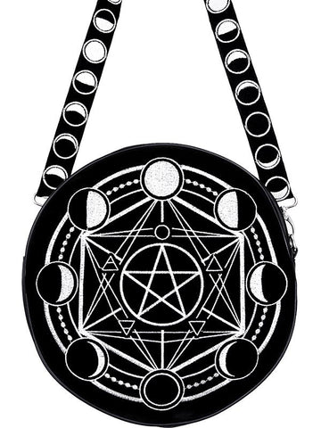 Moon Phases and Pentacle Witchcraft Moon Magic Round Gothic Messenger Bag - Skelapparel