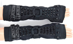 Poizen Industries Goth Punk Black Corn Spikes and Buckles Shadow Arm warmers