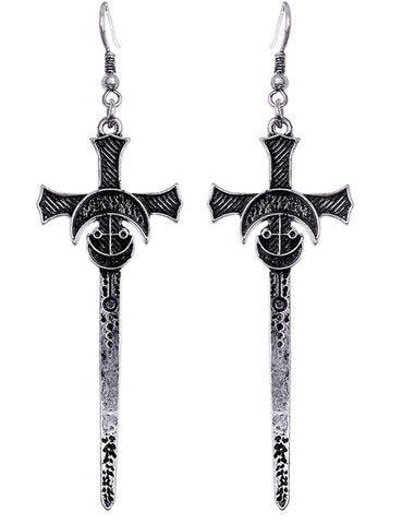 Occult Gothic Alchemy Witch Sword Moon earrings