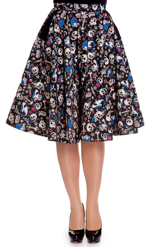 Hell Bunny Nautical Rockabilly Skull Shark & Anchor Rock on Swing Skirt - Skelapparel