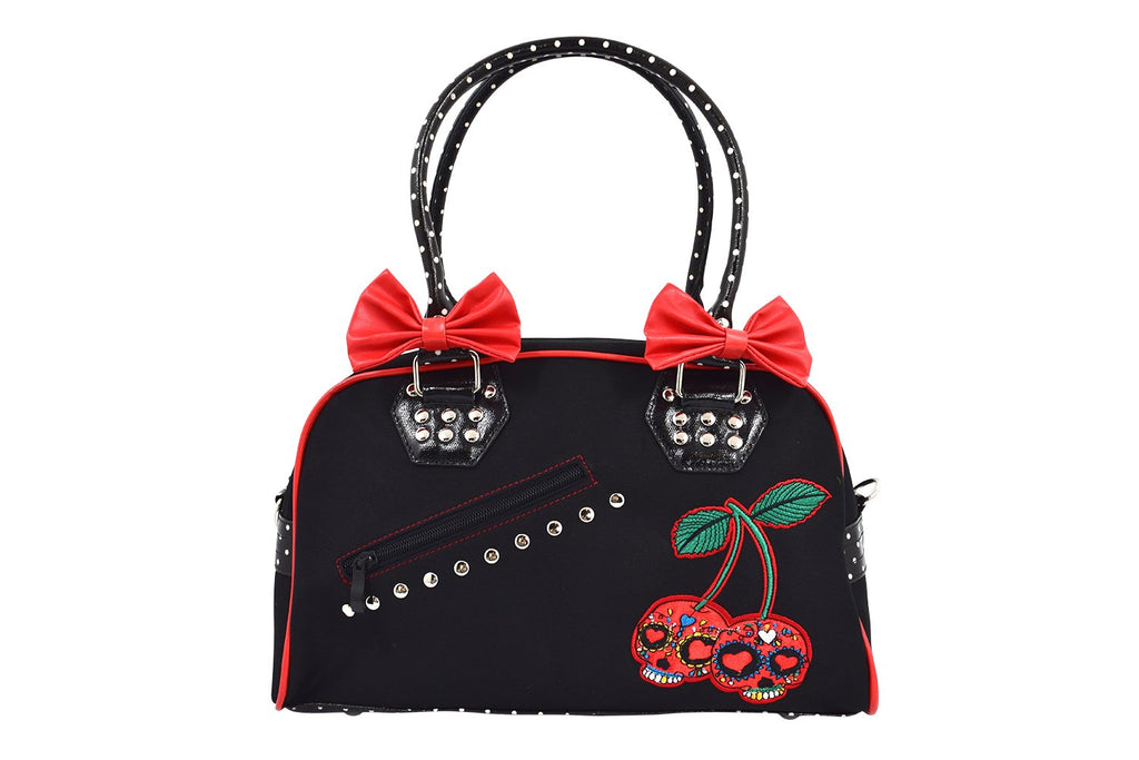 Lost Queen Cherry Bomb Skull Cherries Polka Dot Bow Handbag Rockabilly Black Red - Skelapparel