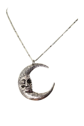 Restyle Gothic Gypsy Skull Moon Crescent Pendant occult Necklace - Skelapparel