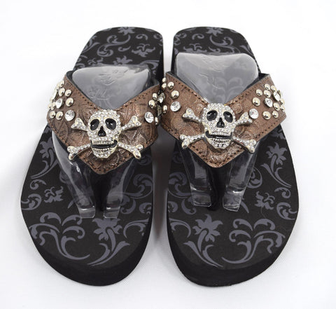 Gothic Punk Rock Crystal Skull and Crossbone Concho Metal Bling Studded Bronze Flip Flops - Skelapparel