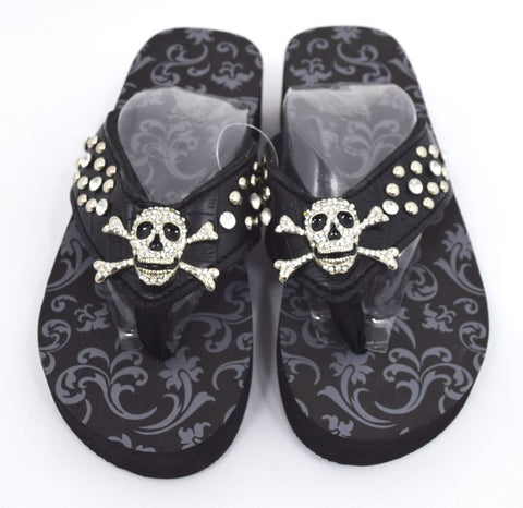 Gothic Punk Rock Crystal Skull and Crossbone Concho Metal Bling Studded Black Flip Flops - Skelapparel