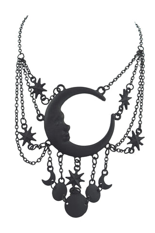 Celestial Goth Crescent Moon Face and Stars Sleepless Nights Witchy Black Necklace - Skelapparel