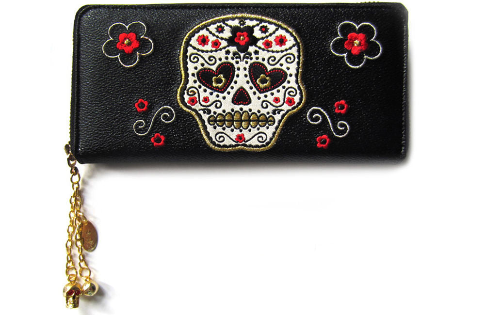 Day of the Dead Flower Sugar Skull Embroidered Zip Around Wallet - Skelapparel