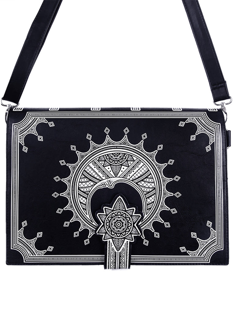 Restyle Henna Crescent Moon Gothic Witch Magic Spell Book Shape Handbag - Skelapparel - 1