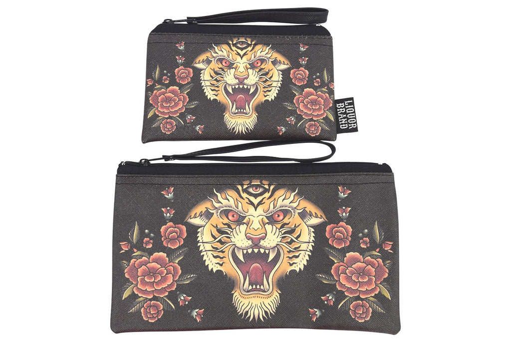 Liquorbrand traditional Tiger tattoo art wristlet pouch bag and Coin Purse - Skelapparel