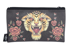 Liquorbrand traditional Tiger tattoo art wristlet pouch bag and Coin Purse
