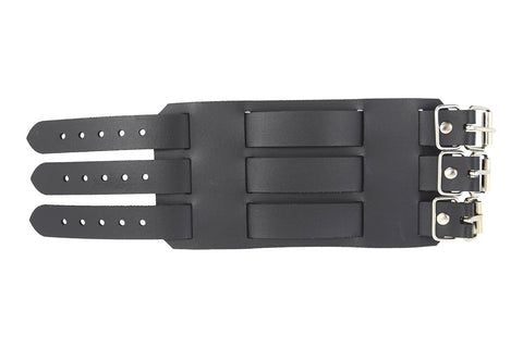 Gothic Grunge Punk Emo Wide Triple Buckle Genuine Leather Wristband Bracelet Unisex - Skelapparel