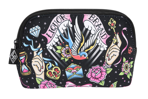 LiquorBrand True Love Flash Tattoo Sparrows Tattoo Art Cosmetic Bag Pouch - Skelapparel