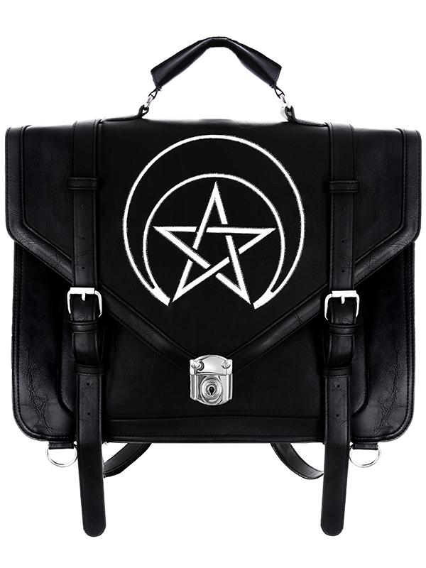 Restyle Gothic Unholy Messenger Satchel Briefcase Wicca Punk Bag Expandable 3 Way Bag - Skelapparel