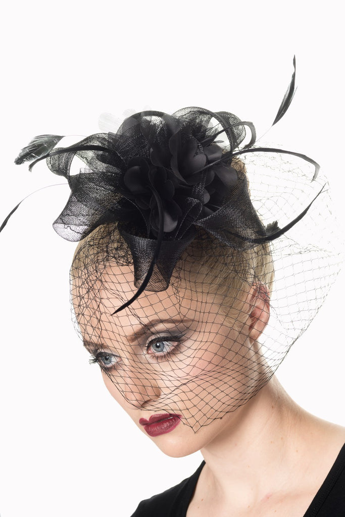 Black Feather Cocktail Party Veil Fascinator Hair Clip