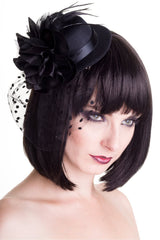 Victorian Vintage Black Top Hat Hair Clip Mini Top Hat Burlesque Top Hat with Flower and  Feather Hair Clip - Skelapparel