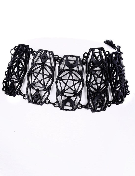 Gothic black pentagram choker necklace
