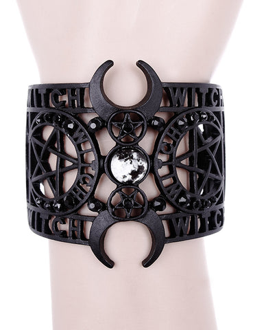 Witchcraft black metal moon bangle bracelet