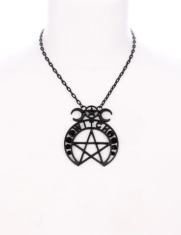 Wicth Moon and Pentagram pendant Necklace, Wicca moon magic witch necklace