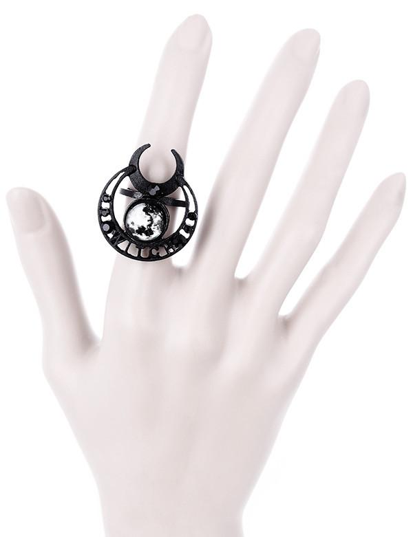 Witchy moon black ring, Witchcraft Moon Ring, Crescent Moon Ring, Luna Moon Ring, Full Moon Ring