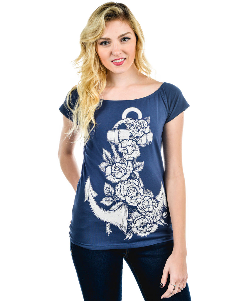 Rockabilly Pinup Anchor and Rose Blue Cup Out Heart Boat Neck Top - Skelapparel