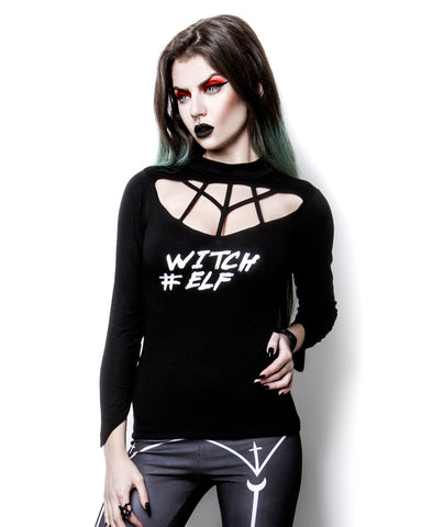 Witch Elf # High Neck harness neck black top - Skelapparel
