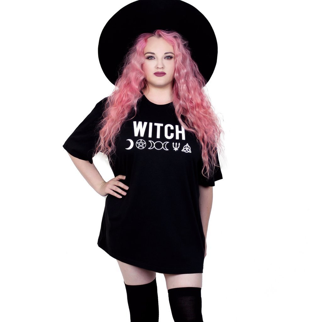 Witch Wicca Symbols Black Oversized Tee - Skelapparel