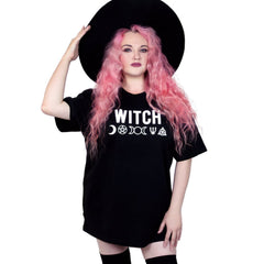 Witch Wicca Magic symbols black oversized tee t-shirt
