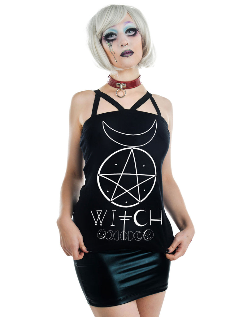 Pentagram and Moons Witch Moon Phases Black Strappy Tank Top - Skelapparel