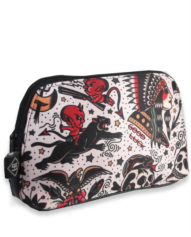 American traditional tattoo Tattoo girls cosmetic pouch bags